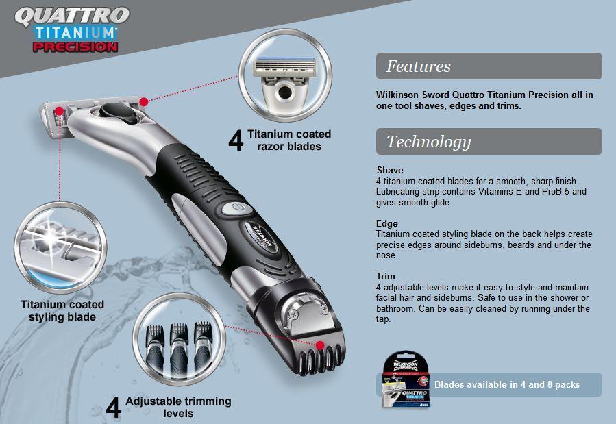 Wilkinson Sword Quattro Titanium Precision Wet Razor 3 In
