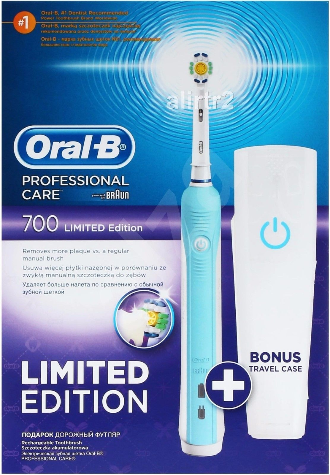 Oral-B 700 Pro Care blue Rechargeable Electric Toothbrush + Travel Case